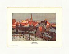 Wintersonne Kunstbeilage von W. Moras Winterlandschaft Dorf Schnee Druck GL 483