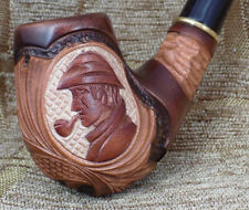 SHERLOCK HOLMES HAND MADE WOODEN TOBACCO SMOKING PIPE CARVED GORGEOUS PIPES