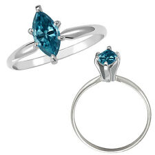 0.5 Carat Blue SI2 Marquise Diamond Solitaire Wedding Fancy Ring 14K White Gold