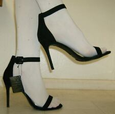 "NEW FOREVER 21 size 12 Wide Black Suede Strappy Shoes, 4 1/2"" High Heels"