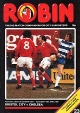1980/81 Bristol City v Chelsea, Division 2, PERFECT CONDITION