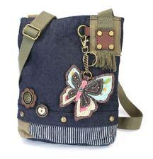 Chala Purse Handbag Denim Canvas Crossbody With Key Chain Tote New Butterfly