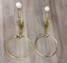 Vintage Brass Eagle Wall Hooks & Towel Rings By Battlefield Antiques Set of 2