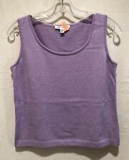 Womens St. John Sweater Vest Knit Top Size P Solid Medium Purple Wool Blend