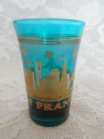 Unusual Collectible SAN FRANCISCO Teal / Turquoise Blue Shot Glass