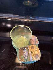 Marjolein Bastin Hallmark Candle Holder Green Garden Bird Sunflower
