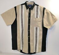 Vtg Wrangler Western Short Sleeves Shirt Aztec Southwest Tan Black Pearl Snap