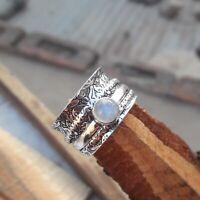 Rainbow Moonstone 925 Sterling Silver Spinner Ring Meditation Ring Size O ra 442
