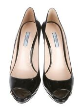 PRADA Black Patent Leather Round-Toe Pumps SHOES SIZE 36 UK 3 US 6