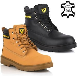 Mens Leather Ankle Safety Boots Lace Up Steel Toe Cap Work Boots Hiker Shoes Sz