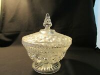 "Anchor Hocking Wexford, Footed, Large Covered Bowl Clear Glass 8"" Tall by 6.1/2"""