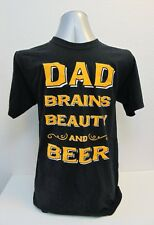 Gift Black T-Shirt Dad Brains Beauty and Beer Size S