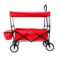 Collapsible Folding Utility Wagon Cart with Canopy �� Red