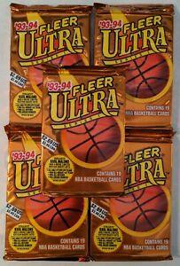 Lot x 5 1993-94 Fleer Ultra Series 1 NBA Packs (A) Look For Michael Jordan Cards