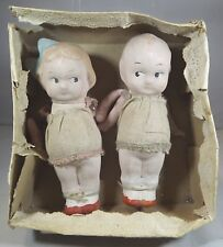 Pair of Boxed Vintage 12cm Kewpie-Style Composition Dolls, Probably Japanese