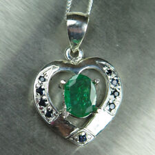 Natural Colombian Emerald &sapphire 925 Sterling silver /Gold heart pendant