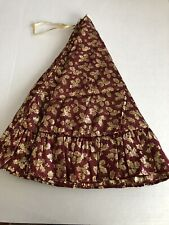 Vintage Ruffled Christmas Tree Skirt 24� Wine and Gold Taffeta with Felt Backing
