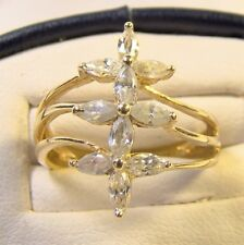 Vintage 14K Yellow Gold Triple Cross Marquis Austrian Crystal Sz 6 Cocktail Ring