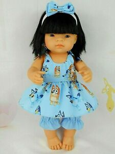 Dolls clothes for 38cm Miniland /34cm Minikane Doll~BLUEY DOG STRAP DRESS SET