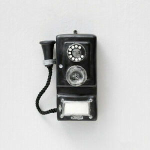 Antique Rotary Wall-mounted Pay Phone Model Vintage Booth Telephone Figurine OB#