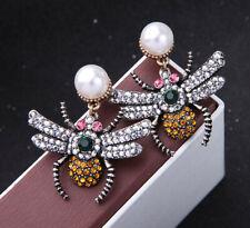 Women Elegant Retro alloy Rhinestone Drop Dangle Colour spider Earrings BJ