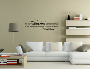 All Our DREAMS Can Come True Walt Disney Wall Stickers Wall Quotes UK 50FF