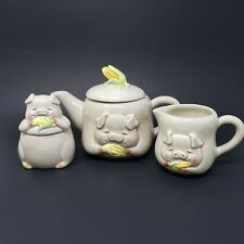 Lefton ESD Pigs Eating Corn Tea Set Teapot Creamer Sugar Bowl with Lid 5 pcs