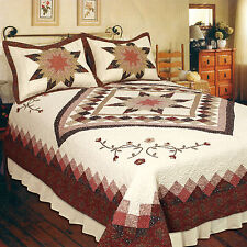 HEIRLOOM STAR 3pc Cal King QUILT SET : RED BROWN COTTON 8 POINT FLORAL FARMHOUSE