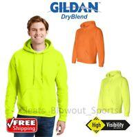 Gildan Safety Green Orange Hoodie Sweat Shirt HI VIS ANSI Work Wear S-3XL 12500
