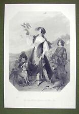 FALCONER LADY Costume England Dog Hounds - SUPERB Quality Print Engraving