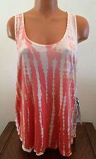 Young Fabulous & Broke Womens Sz Small Orange Tie Dye Sleeveless 100% Rayon Top