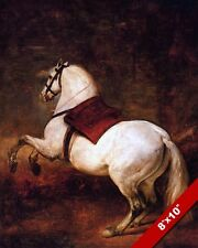 THE WHITE HORSE OIL PAINTING ART REAL CANVAS GICLEE PRINT