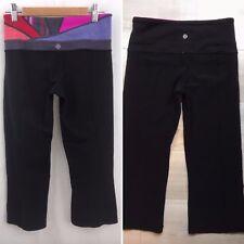 Lululemon Groove Crop Reversible Leggings Black Capri Quilted Workout Pants Sz 4