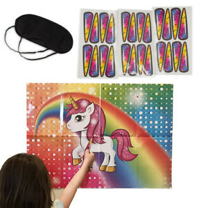 Pin The Horn On The Unicorn Game Fun Children's Birthday Activity Party Supplies
