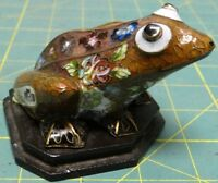 Vintage China Green Frog Floral Flower Figurine w/ Stand
