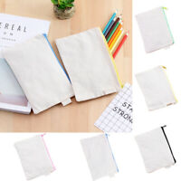DIY Pencil Case Stationery Pouch Blank Graffiti Canvas Painting Storage Zip