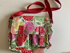 Boden PVC coated cotton floral satchel bag with red shoulder strap & buckles