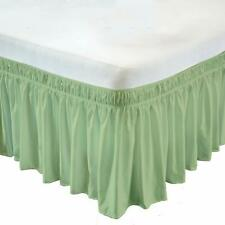 Wrap Around Elastic Bed Skirt Egyptian Cotton 600 Tc Sage Solid All size & drop