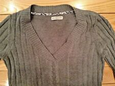 Woman's V Neck Cable Stitch Sweater-Size Large- with Extra long Sleeves-Gray