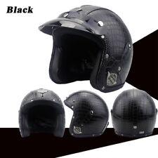 Black Motorcycle Helmets 3/4 Open Helmet PU Leather + Goggle Mask Retro Style