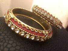 Gold Plated Bangle Set Indian Bollywood Jewellery size 2.4
