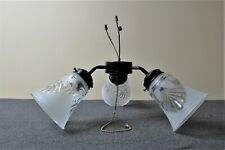 VINTAGE HUNTER FAN LIGHT KIT - used BLACK FITTER w/ 3 CLEAR/FROSTED GLASS SHADES