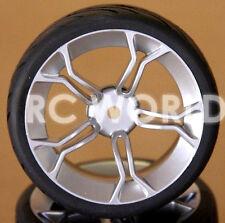 R/C 1/10 Radio Control CAR Wheels SILVER 5 STAR  w/ Semi Slick TIRES 4PC
