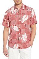 Tommy Bahama Plaza Palms Short Sleeve Silk Button-Up Classic Fit Hawaiian Shirt