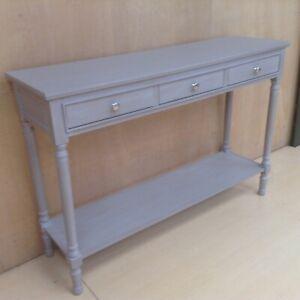 Feversham light grey large wooden console 3 drawer 122cm wide