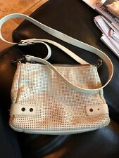 SORIAL light stone grey perforated Leather Small  Crossbody Bag; 8Lx7H