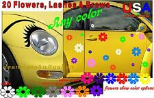 EYELASHES & 40 rainbow FLOWERs Set EYEBROWs Any Car decal VW bug headlight USA
