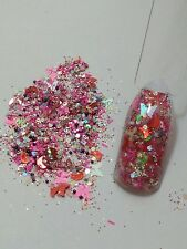 Pink Butterfly Glitter MIXED WITH ACRYLIC POWDER - USA