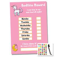 Unicorn Bedtime Nightime Reward Chart - Kids Child Sticker Star - Sleep Own Bed
