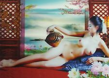 """ONE RARE 3D Stereo Lenticular Poster Nude Asian Girl 15.5 x 11.5""""-Serial 2"""